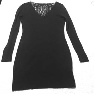 Venus Black sweater dress with crochet back panel